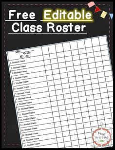 Class List Template - Here's a FREE editable class roster in Word. I use mine for progress monitoring, as a grade book, field trip permission slip check off, etc. FREEBIE #Backtoschool #teacherdeals