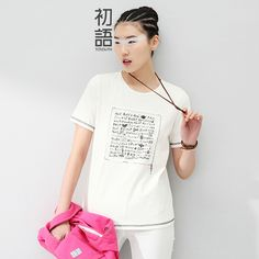 Toyouth 2016 Summer New Arrival  Women T-Shirts Print Letter Short Sleeve O-Neck Tees Fashion Cotton Casual Loose T-Shirts #Compare #Women