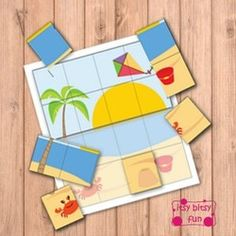 Freebie - Summer  Puzzles File Folder Game(s) - From ItsyBitsyfun.com - D