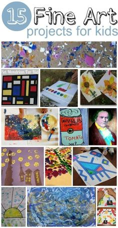 15 fantasic fine art activities for kids --great website to get art activity fillers for Art Camp!