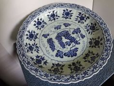 Large Ming Dynasty Charger with Grapes Motif Diameter 18 1/2 in., H 2 5/8 in. This is an important Ming Dynasty Yongle Period underglaze blue charger. It is decorated with bundles of grapes. Porcelain from this period is supposed to be the best in Chinese ceramics history.