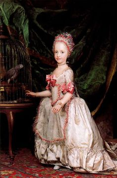 Archduchess Maria Teresa of Austria with a caged parrot by Anton Raphael Mengs (1728-1779)