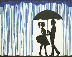 """""""Meet Me in the Rain"""" Social Artworking Canvas Painting Design--This whimsical look at love would be a great painting for a couple's party. The simplistic style makes it accessible to all painting skill levels.  CANVAS SIZE:  16"""" x 20""""   TIME TO PAINT:  approximately 2 hours"""