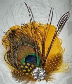 Solar power yellow bridal fascinator