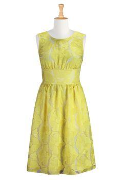 Yellow Floral Organza Dresses, Vibrant Bloom Spring Dresses Shop womens designer dresses | A-line | A-line dress | A-line Dresses | A-line C...