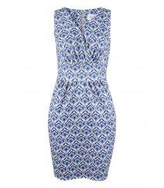Blue Retro Floral Cross Over Tulip Dress - Dresses - Clothing