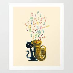 Happy Cat With A Tuba by Budi Satria Kwan $19.97