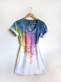 Splash Dyed Hand PAINTED Scoop Neck Pinned Rolled by twostringjane, $69.00