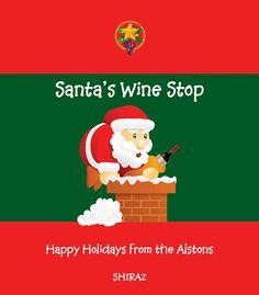 Santa's wine stop custom wine label.