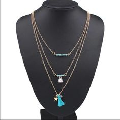 (L1) Triple Layer Tassel Necklace Pretty gold toned zinc alloy layered necklace. Very pretty. New in package. Jewelry Necklaces