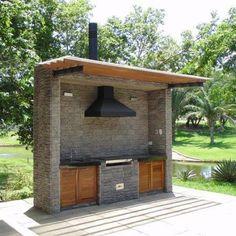 Outdoor Kitchen Bars, Backyard Kitchen, Outdoor Kitchen Design, Backyard Bbq, Outdoor Kitchens, Outdoor Cooking, Simple Outdoor Kitchen, Pergola Diy, Pergola Plans