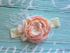 Cream pink and yellow satin and lace headband by ClairebowBaby