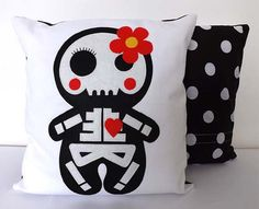 Sugar Skull Pillow Cushion by TheDollCityRocker on Etsy