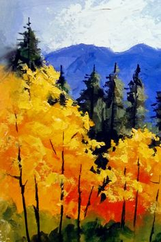 "easy fall acrylic paintings | Daily Painters Abstract Gallery: ""FALL IN COLORADO II & III"" daily ..."
