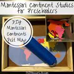 Montessori Continent Studies for Preschoolers -- DIY Montessori Continents Felt Map