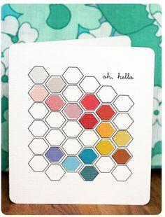 Oh, Hello printable hexagon card Hello Printable, Free Printable Cards, Printable Paper, Stationary Printable, Free Printables, Diy Design, Hexagon Cards, Hexagon Quilt, English Paper Piecing