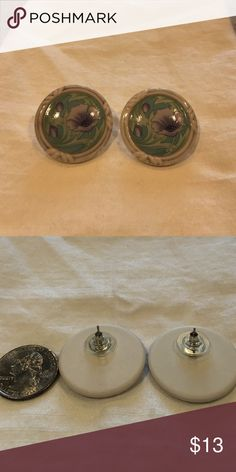 Vintage 1980's Ceramic Floral Button Earrings My grandmother was cleaning out her jewelry box and was going to throw these amazing vintage pieces away!! So I saved them and I am sharing the pieces that I can't wear. They are in amazing shape and hard to find! Vintage Jewelry Earrings