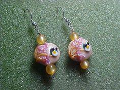 Lampwork bead owl earrings with vintage by LEFIALYNNCREATIONS, $25.00
