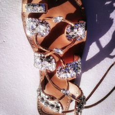 Greek marvelous handmade leather sandals decorated with rhinestone crystals and glitter fabric too bright to wear the most beautiful day of