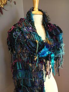 Fringed knit Fashion Shawl or Super Scarf, 'Cool Jewel', Dumpster Diva, Knit Fringed Black Aqua Purple, Scarf, bohemian fashion, tribal by RockPaperScissorsEtc on Etsy
