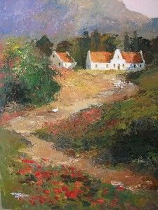 Houses In Woods Against Mountains - - Tony De Freitas Upcoming Artists, South African Artists, Veronica, Woods, Landscapes, Art Gallery, Houses, Contemporary, Mountains