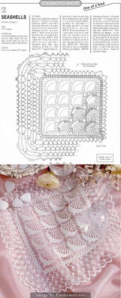Stunning crochet ~~ Square doily from sc & Solomon's Knots seashell shaped or inverted pineapple motifs bordered by a single shell column ~~ Wide Solomon's Knots edging is so delicate it's practically a whisper; it would look good on a handkerchief ~~ BethSteiner: Toalhinha em crochê ~~
