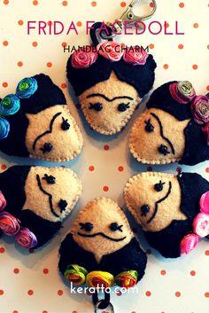 Frida Facedoll in colors, handmade in felt. #frida #kahlo #mexican #art #doll #keychain #charm #handbag #keratto #handmade