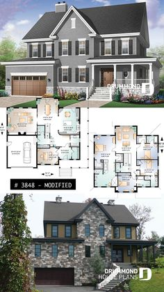 Discover the plan 3848 - La Fayette from the Drummond House Plans house collection. Country American style home, large master suite with bedrooms and ceilings, home office, fireplace. Total living area of 3621 sqft. Sims 4 House Plans, House Layout Plans, Family House Plans, New House Plans, Dream House Plans, House Floor Plans, American Style House, American Houses, Drummond House Plans
