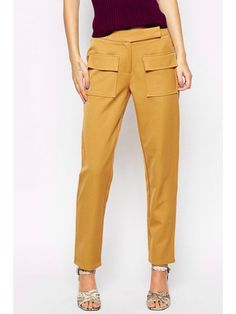 Straight Solid Color Pockets OL Pants - YELLOW L
