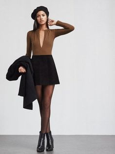 @reformation Laurence Bodysuit is a ribbed jersey bodysuit with a plunging keyhole neckline that's gathered at the top (so you can adjust to show as little or as much as you want). Long sleeves, keyhole back with button closure. https://www.thereformation.com/products/laurence-bodysuit-cocoa?utm_source=pinterest&utm_medium=organic&utm_campaign=PinterestOwnedPins