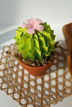 Ever Green Origami Paper Cactus With Pink Blossom by JoyfulArray