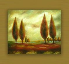 READY TO HANG CYPRESS TREES IN SUNRISE LANDSCAPE OIL PAINTING STRETCHED CANVAS