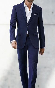707dd68af69bc Casual Friday Outfit | Navy two button suit with white dress shirt and  straight fold pocket
