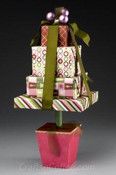 Wrap up a Christmas centerpiece with pretty paper packages
