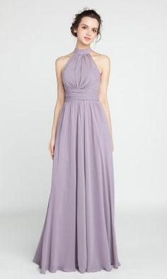 Long Chiffon Bridesmaid Dress with Halter Neckline TBQP384