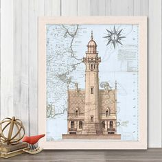 Lighthouse print - Lighthouse & House on Nautical Map lighthouse decor marine print nautical Cabin decor nautical Gifts for Men Gift for Dad