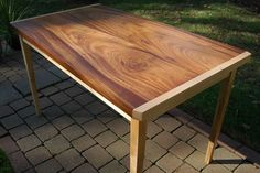 """Solid Khaya ribbon stripe and fiddleback maple kitchen or dining table.  45""""L x 27""""W x 30""""H"""
