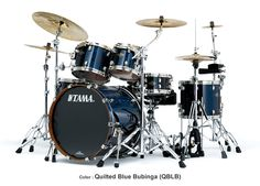 Tama Starclassic Bubinga Elite Drums: Quilted Blue Bubinga The most beautiful kit I have ever seen. Drum Accessories, How To Play Drums, Drum Sets, All That Jazz, Snare Drum, Blue Quilts, Foo Fighters, Music Instruments, 3 Piece