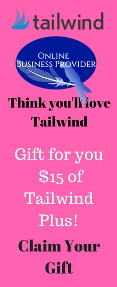 Online Business Provider thinks you'll love Tailwind and sent you $15 of Tailwind Plus!    Claim Your Gift     Tailwind is the smartest way to manage your presence across the visual web (Pinterest & Instagram). Tailwind is an official partner of both Pinterest and Instagram and offers a complete suite of marketing tools including Smart Scheduling, Analytics & Monitoring, Content Discovery, Promotion, and more.   Find out why over 100,000 bloggers, brands and agencies rely on Tailwind Make Money Online, How To Make Money, Instagram Schedule, Sem Internet, Marketing Tools, Affiliate Marketing, Online Business, Promotion, Discovery