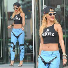 Rihanna's MadeMe top, rag & bone pants