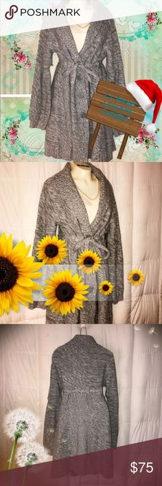 """New J.J. Always WOOL Blend Long Elegant Cardigan L ❄️️🎄🎁❄️💎🎉🌹This is a super warm and top trending designer Cardigan that I found at a small boutique in downtown Aspen CO. It is handknit by J.J. Always and she is located in Crested Butte, CO. Size LARGE. Long sleeves, full collar, ties around the waist, front button closure, wool blend, and in excellent new condition. Length 38"""", bust 40"""", waist 38"""", hip 54"""" and sleeve length 27"""". Thanks 4 shopping with me and happy…"""