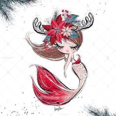 Something I worked on these last days, exclusively for - see also my previous and next posts! Mermaid Drawings, Mermaid Art, Christmas Drawing, Christmas Art, Colorful Drawings, Cute Drawings, Mermaids And Mermen, Cute Cartoon Wallpapers, Cute Illustration