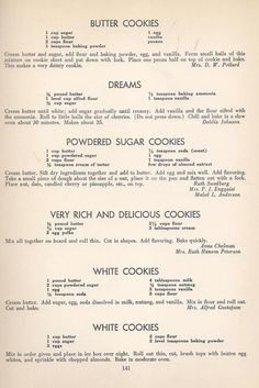 Butter Cookies Dreams Powdered Sugar Cookies Very Rich & Delicious Cookies White Cookies Vintage Cookies Recipes From 1940 -- AntiqueAlterEgo Crinkle Cookies, Candy Cookies, Cookie Desserts, No Bake Cookies, Yummy Cookies, Cookies Et Biscuits, Cookie Recipes, Dessert Recipes, Sugar Cookies