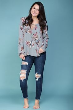 Bohemian spring style. Floral peasant style top.
