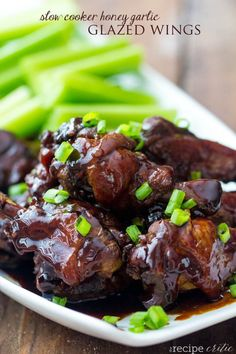 Celebrate game day with these Slow Cooker Honey Garlic Chicken Wings. This easy slow cooker chicken wings recipe will have you scoring points with all your friends because of the amount of flavor they pack in each bite! Slow Cooker Appetizers, Slow Cooker Recipes, Appetizer Recipes, Cooking Recipes, Crockpot Meals, Holiday Appetizers, Potluck Recipes, Chili Recipes, Asian Recipes