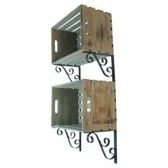 "2-tier wall shelf with metal scrollwork detailing and wood crate compartments.  Product: Wall shelfConstruction Material: Metal and woodColor: Natural and blueDimensions: 39"" H x 18.1"" W x 9.8"" DNote: Assembly required"