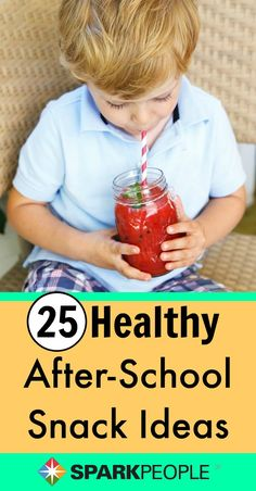 25 After-School Snack Ideas. Good ideas, not just for kids, but for us grown-up kids, too! | via @SparkPeople #kidfood #snacks #kidfriendly #healthysnacks