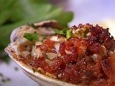 Clams Casino recipe from Emeril Lagasse via Food Network Food Network Recipes, Food Processor Recipes, Clams Casino, Prosciutto Recipes, Little Neck Clams, Party Food And Drinks, How To Dry Oregano, Fish And Seafood, Good Food