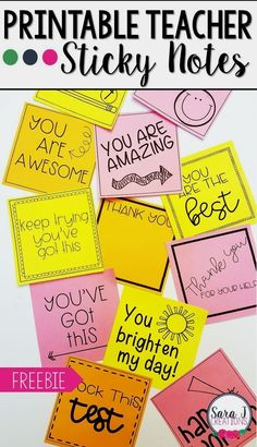 Printable Teacher Sticky Notes Check out these CUTE printable sticky note templates designed just for teachers. Great idea for motivating . The Words, Classroom Organization, Classroom Management, Desk Organization, Teacher Morale, Staff Morale, Bon Point, Notes Template, Teacher Notes