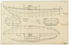 Scheepsbouwtekening van een zalmschouw.